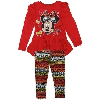 Disney Little Girls Red Minnie Mouse Ruffle Long Sleeve 2 Pc Legging Set