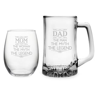 Mom & Dad Stemless Wine Glass and Beer Mug Set - Myth, Legend