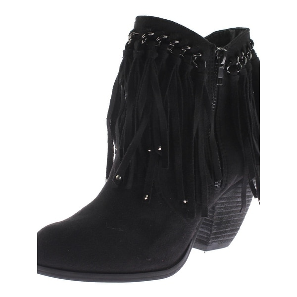 Not Rated Womens Aadila Ankle Boots Faux Suede Fringe