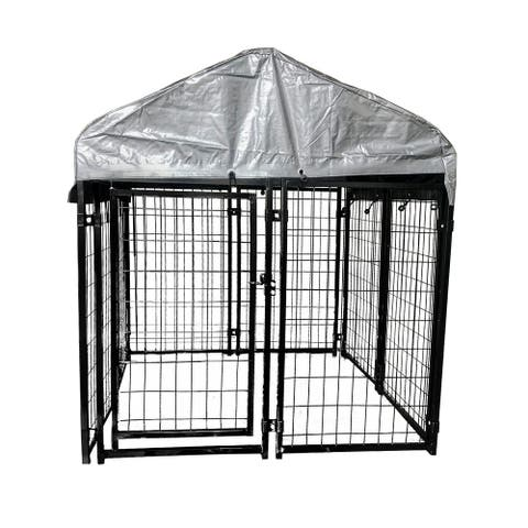 ALEKO Dog Kennel 4 x 4 x 4.5 ft Chain Link Pet Playpen Fence with Roof and Fabric