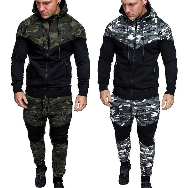 Winter and Autumn Men' Fashion 2 Parts Hooded Sweatshirt and Pants Set(US Size)