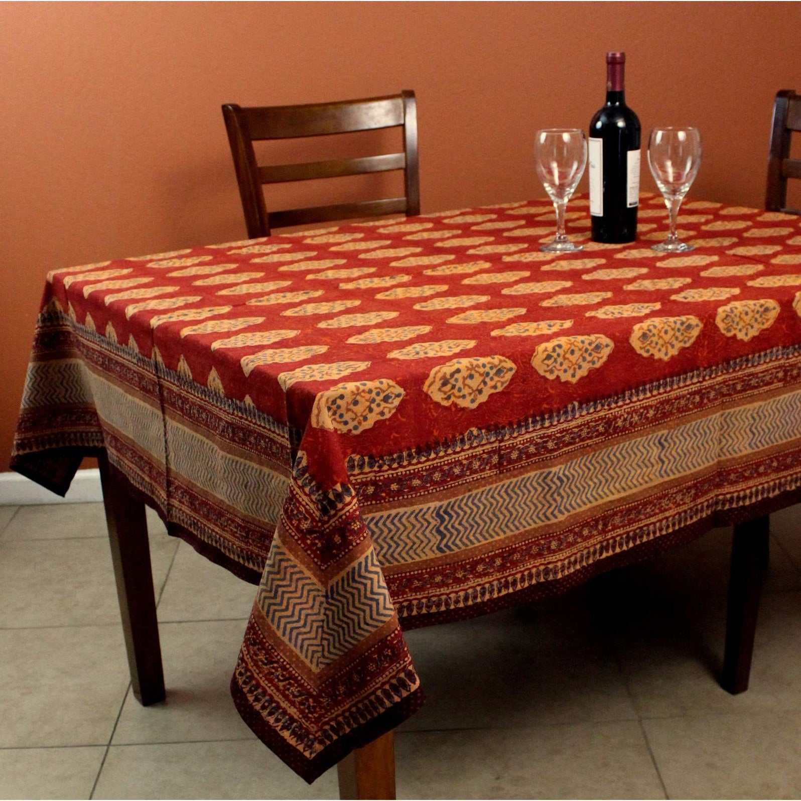Cotton Kensington Block Print Tablecloth Rectangular Square Round Rust Brown - Thumbnail 0