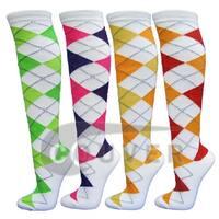 White Argyle Ladies Colorful Variety Design Assorted Knee High Socks(4 packs)