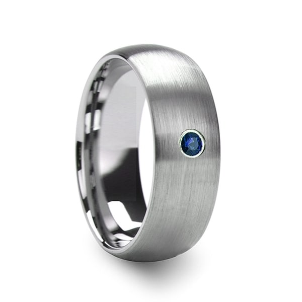 THORSTEN - MELANTHIOS Men's Domed Brushed Tungsten Wedding Ring with Blue Diamond Center