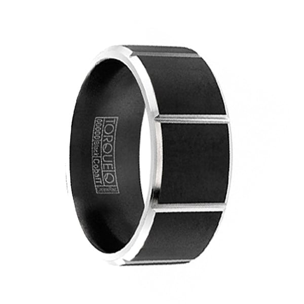STRIDER Torque Black Cobalt Wedding Band Matte Finish Grooved Vertical Line Center Accents Beveled Edges by Crown Ring - 9 mm