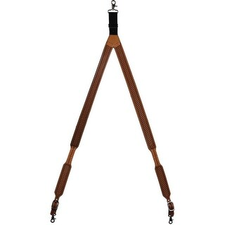 3D Western Suspenders Mens Galluse Tooled Leather Lacing Natural