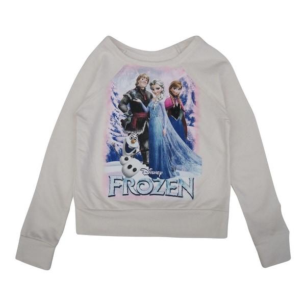 Disney Little Girls Bone White Frozen Character Print Long Sleeve Sweater 5-16