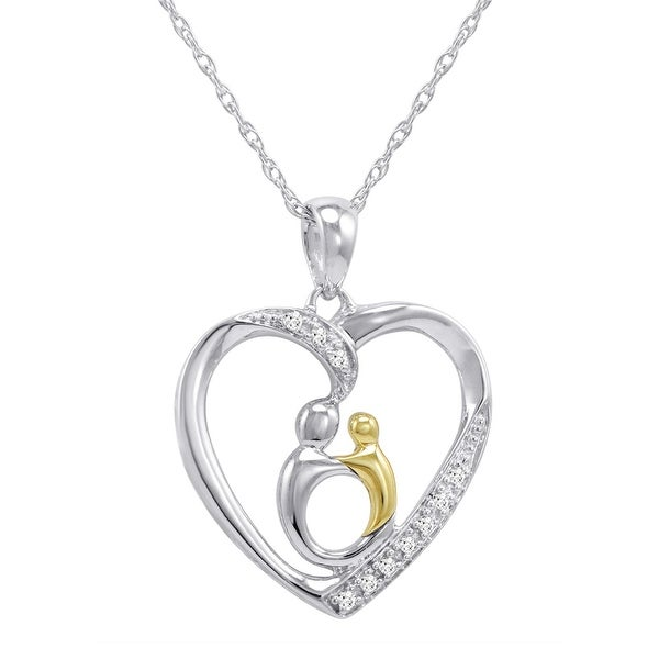 Amanda Rose Sterling Silver and 10K Gold Mother with Child Diamond Heart Pendant-Necklace on an 18 inch Chain