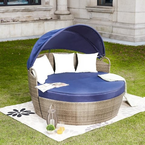 PATIO FESTIVAL 3-Piece Wicker Covered Daybed Sofa Set