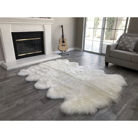 "Dynasty 10-Pelt Luxury Long Wool Sheepskin Off White Shag Rug - 5'5"" x 8'6"""