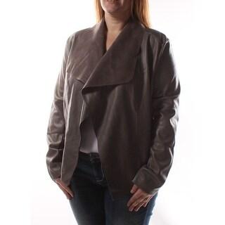 BAR III $100 Womens New 1302 Gray Faux Leather Jacket Casual Jacket 2XS B+B