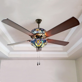 """Gracewood Hollow Lemsine Blue Stained Glass Tiffany-style Ceiling Fan - 52""""L x 52""""W x 19""""H"""