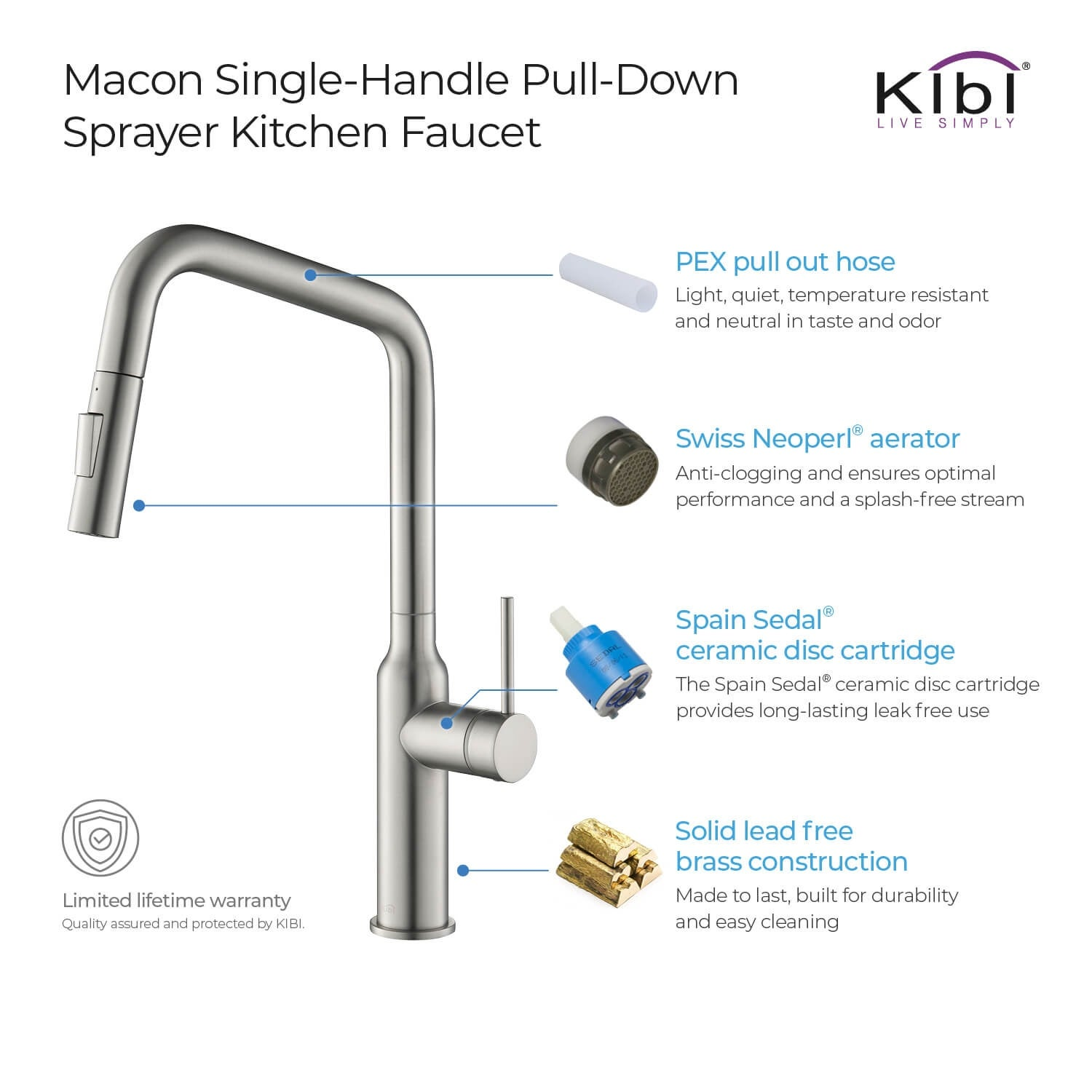 High Arc Pull Out Single Level Lead Free Brass Kitchen Faucet With Sprayer And Magnetic Docking Overstock 31937473