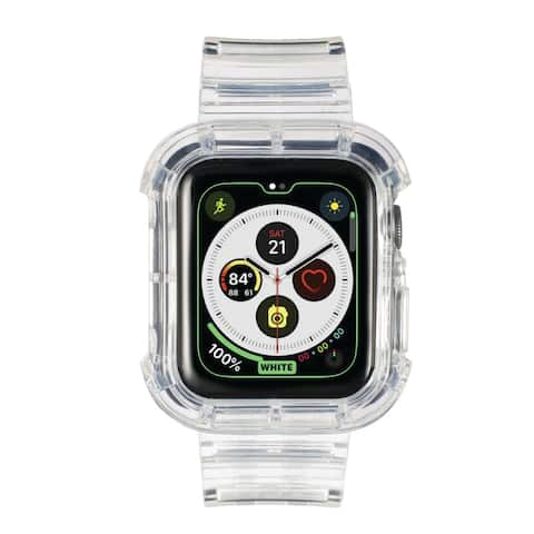 Insten Clear Watch Band with Bumper For 42mm 44mm Apple Watch Series SE 6 5 4 3