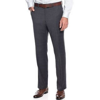 Alfani Mens Slim Fit Gray Plaid Dress Pants 30 x 32 Flat Front