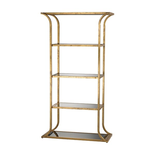 "72"" Gold 4 Layer Vertical Metal Petronas Bookshelf - N/A"