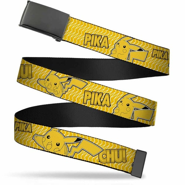 Blank Black Buckle Pikachu Attack Poses Pika Chu! Yellow Black Web Belt