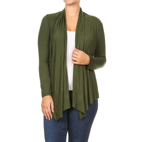 Women's Plus Size Long Sleeves Solid Sweater Cardigan