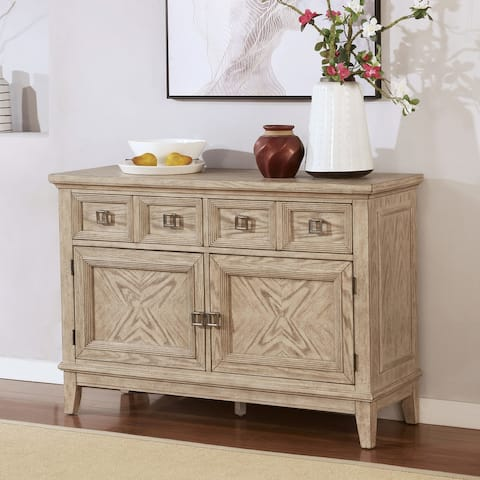 Furniture of America Frez Transitional Natural Tone Solid Wood Server