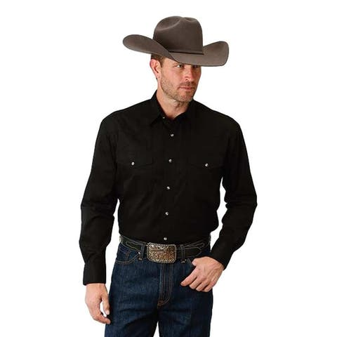 Roper Western Shirt Mens Woven L/S Snap Black