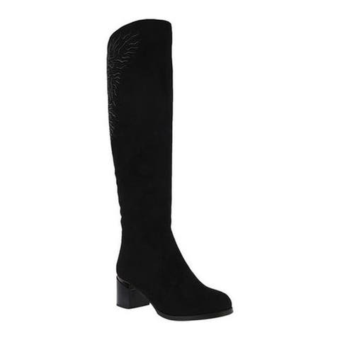 Azura Women's Aketa Over The Knee Boot Black Microsuede