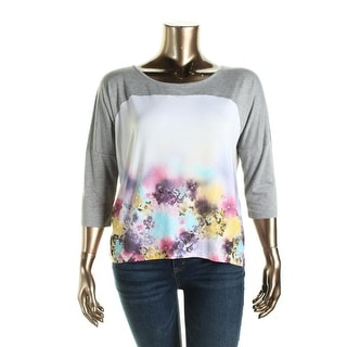 Cable & Gauge Womens Heathered Floral Print Panel Pullover Top - L