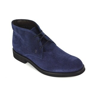 Tods Mens Navy Suede Ankle Desert Boots