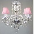 All Crystal Chandelier With Pink Shades H17 x W17 - Thumbnail 0