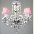 Swarovski Crystal Trimmed Chandelier Lighting & Pink Shades - Thumbnail 0
