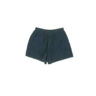 Aqua Womens Eyelet Flat Front Casual Shorts