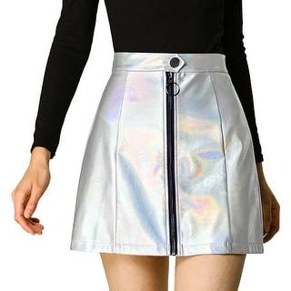 Link to Women's Casual A-Line Metallic Zipper Front High Waist Short Mini Skirt - Silver Similar Items in Skirts