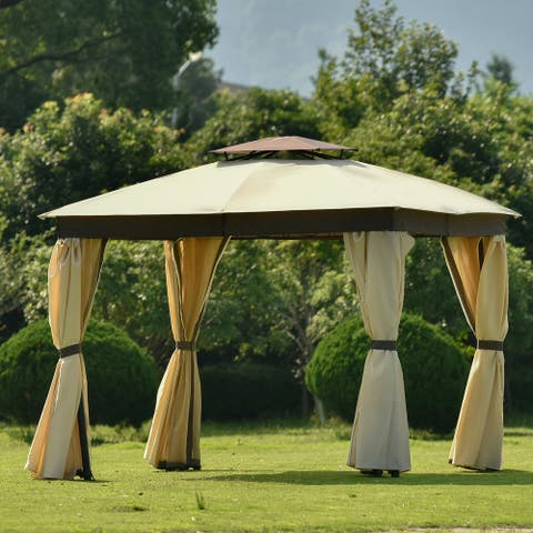 Nestfair 10 ft. x 10 ft. Khaki Double Tiered Soft Top Canopy Gazebo Tent for Outdoor