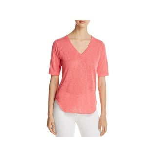 Nally & Millie Womens Pullover Sweater V-Neck Short Sleeves