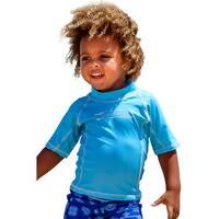 Sun Emporium Baby Boys Aqua Multi Panel Short Sleeve Rash Guard