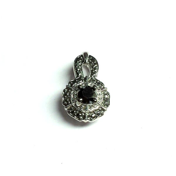 Brand New 0.32 Carat Genuine Black Diamond With Diamond Solitaite Pendant