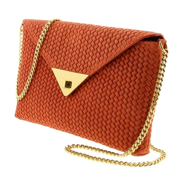HS1181 CO TIA Coral Red Leather Clutch/Shoulder Bag - 10-6.5-1.5