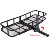 Costway Folding Cargo Carrier Luggage Rack Hauler Truck or Car Hitch 2'' Receiver