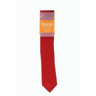 Tallia NEW Red One Size Linen Solid Neck Tie & Gingham Pocket Square