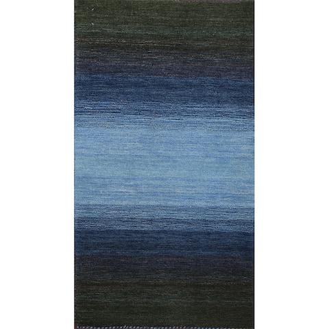 "Abstract Contemporary Gabbeh Oriental Runner Rug Handmade Wool Carpet - 2'5"" x 4'7"""