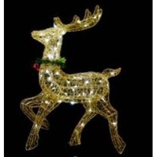 "25"" Lighted Gold Sisal Prancing Reindeer Christmas Yard Art Decoration"