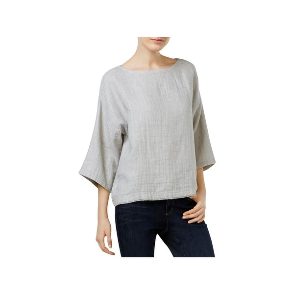 06136a76e8 Shop Eileen Fisher Womens Pullover Top Woven Boat Neck - m - Free ...