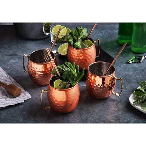 Moscow Mule Mugs Copper Bar Accessories Drinking Cups 14 oz - 8 Pieces - 4 Cups & 4 Straws
