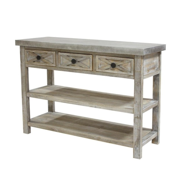 "47.5"" White Lightly Distressed Decorative Table/shelves/drawers"