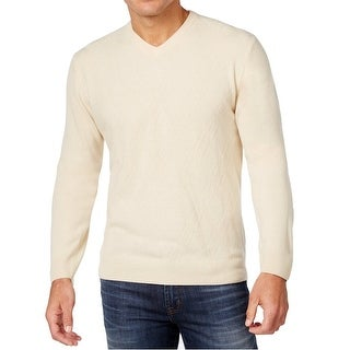 Weatherproof NEW Antique Ivory Mens Size Small S V-Neck Ribbed Sweater