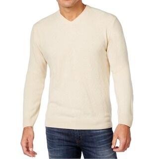 Weatherproof NEW Antique Ivory Mens Size XL V-Neck Diamond-Knit Sweater