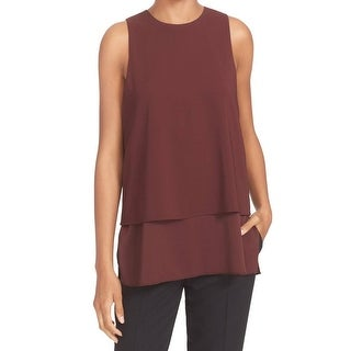 Theory NEW Deep Red Womens Size Large L Layered Side-Slit Tank Top