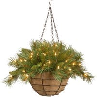 "20"" Pre-Lit Battery-Operated Tiffany Fir Artificial Christmas Hanging Basket - Warm White LED Lights - green"