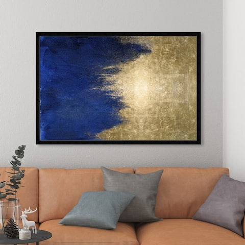 Oliver Gal 'Light symphony in Blue' Abstract Framed Wall Art Prints Paint - Blue, Gold