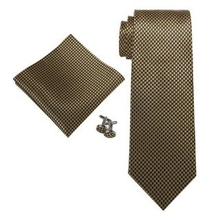 Men's Brown and Gold Check 100% Silk Neck Tie Set Neck tie+Hanky+Cufflinks