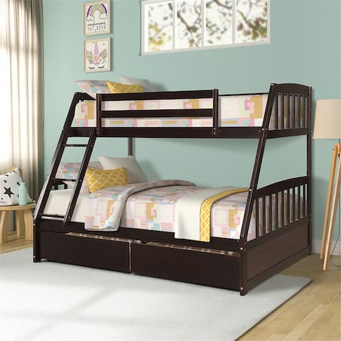 Solid Wood Twin Over Full Bunk Bed with Two Storage Drawers